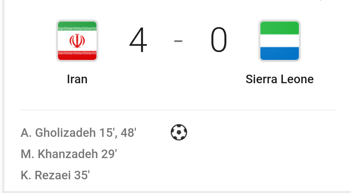 "alt=""Iran crush Sierra Leone in World Cup Warm-Up """