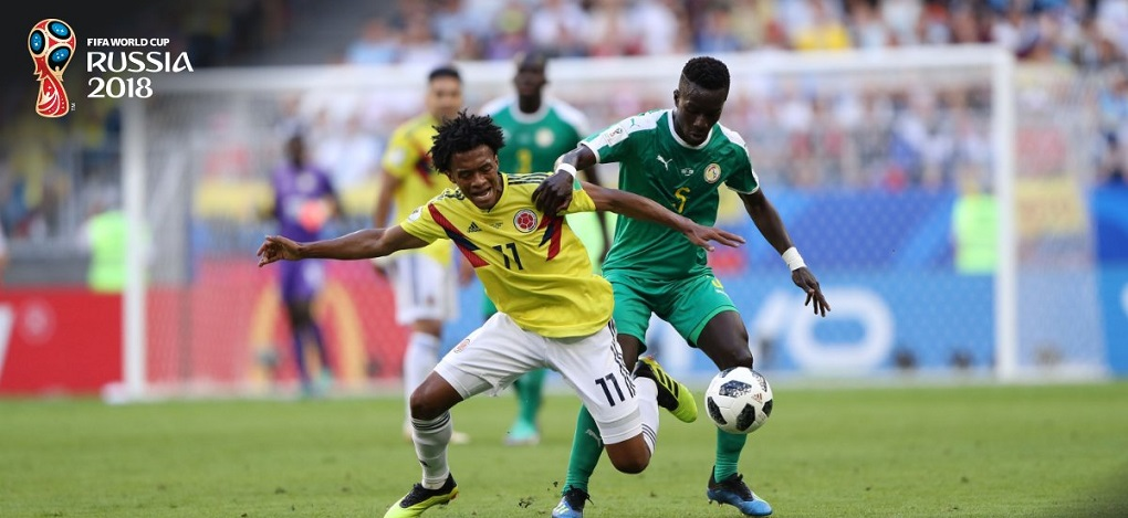 Action from the Senegal v Colombia match on Thursday