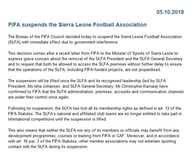 FIFA suspends Sierra Leone Football Association.