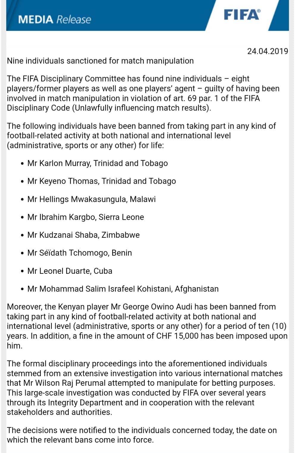 The Fifa's document to Football Sierra Leone