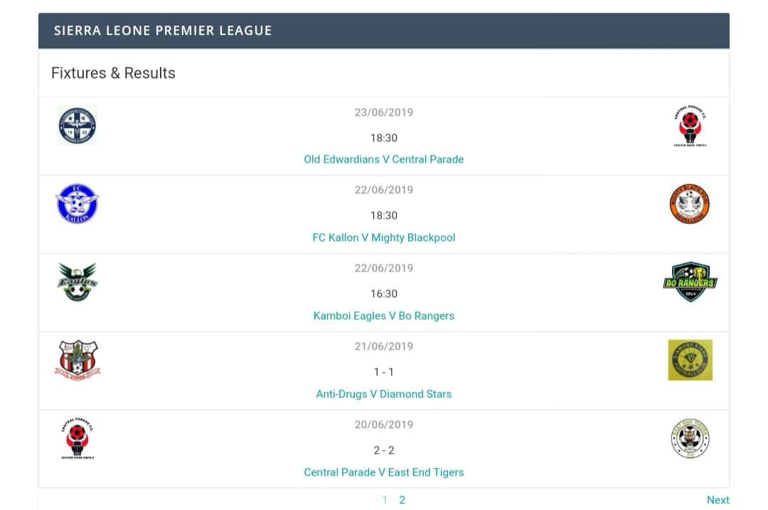 Sierra Leone Premier League Weekend fixtures