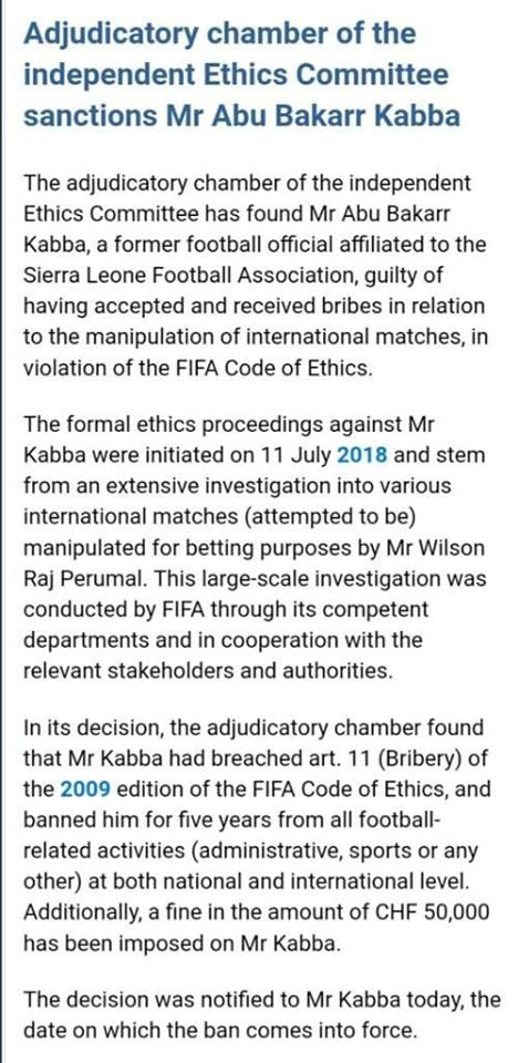 Read the full Fifa statement.