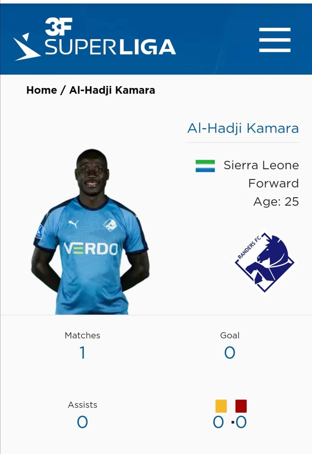 Alhaji Kamara's Danish Superliga stats