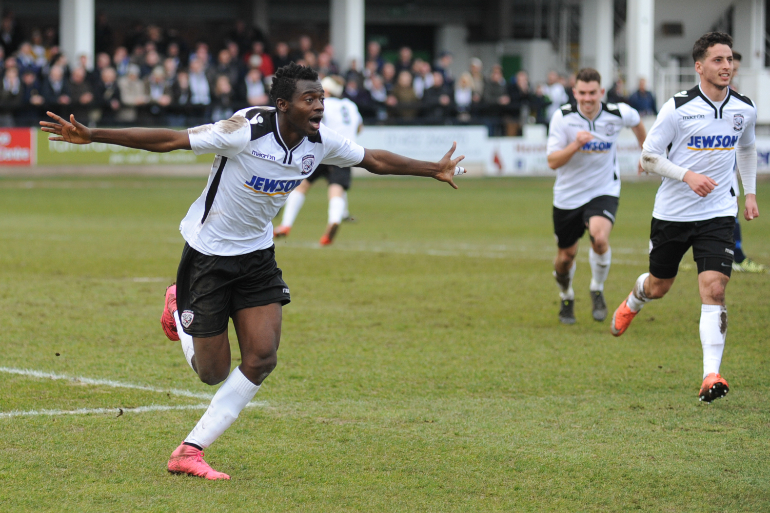 Hereford FC v Salisbury, FA Vase semi-final first leg – Mustapha Bundu scores Hereford's goal.