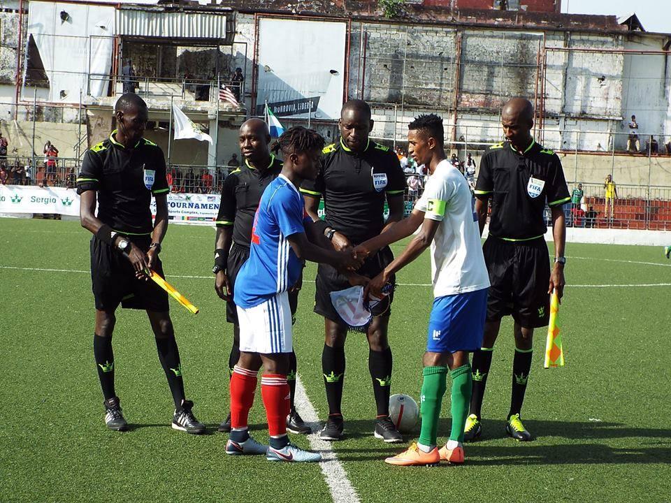 WAFU U20: Liberia and Sierra Leone U20 captains at the Antoinette Tubman Stadium in Monrovia.