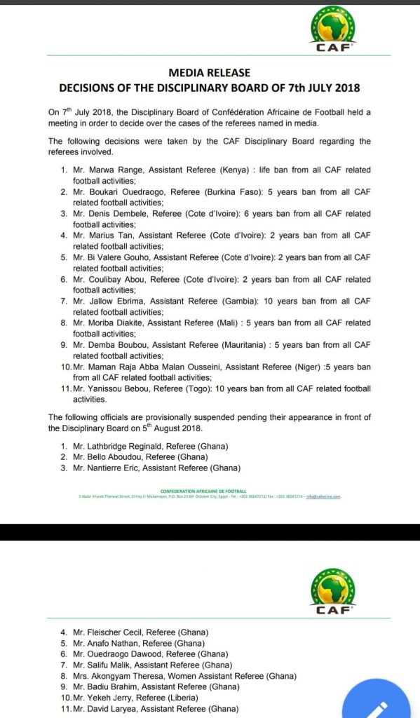 """"""" MEDIA RELEASE DECISIONS OF THE DISCIPLINARY BOARD OF 7th JULY 2018"""""""