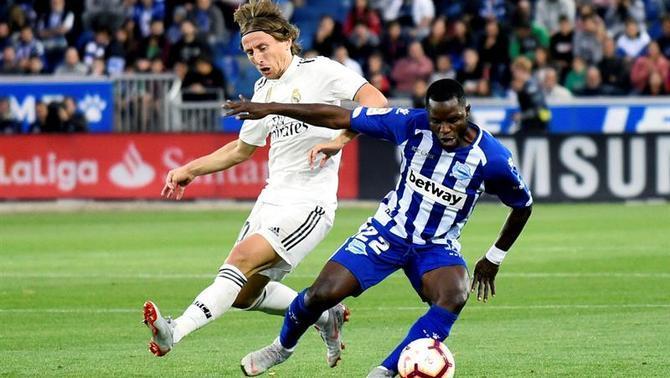 Wakaso Mubarak in action Real Madrid on Saturday.