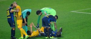 """""""The Sierra Leone striker - Alhassan Kamara was forced off pitch with serious knee injury"""""""