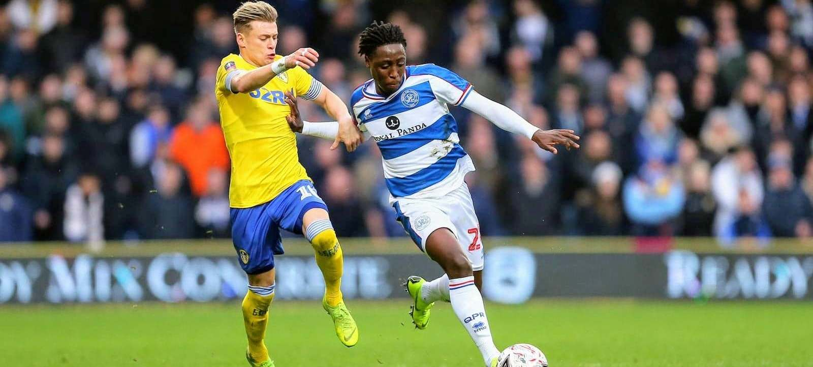 Osman Kakay in action against Leeds in Emirates FA Cup win at Loftus Road on Sunday.