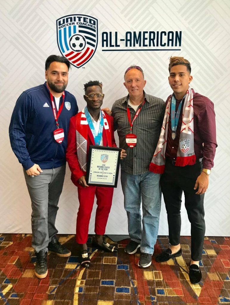 Photo: Assistant Coach Raul Herrera, Pele Sesay, Head coach Sean Worley and Co-Captain Lucio Martinez.