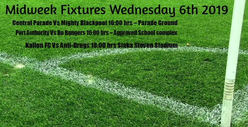Midweek Fixtures Wednesday 6th 2019