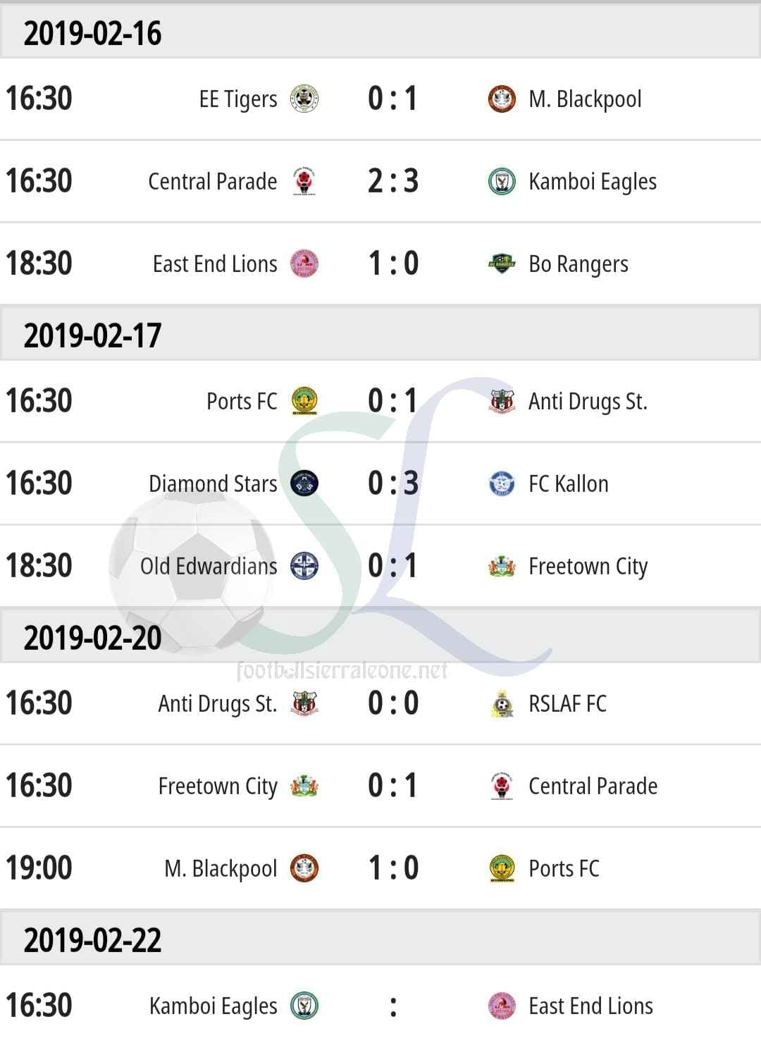 """Recent League matches and results"""
