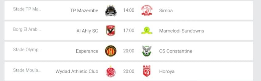 CAF Champions League Fixtures - Sat, 13 Apr 2019