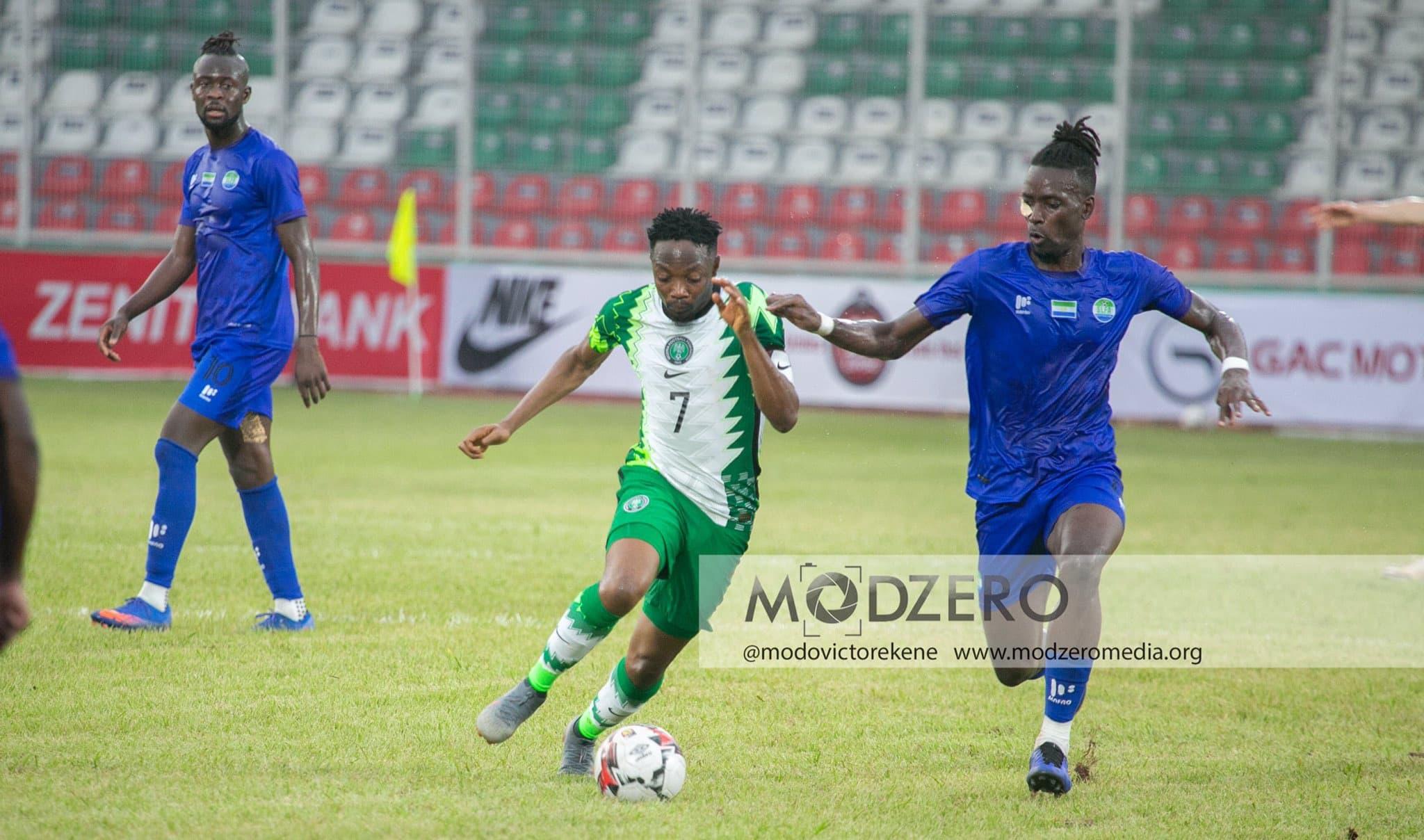 Eagles Skipper Ahmed Musa vies John Kamara