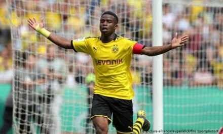 Cameroonian-born Moukoko is the youngest scorer in Bundesliga history