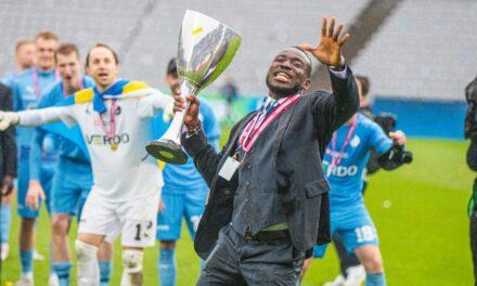 Alhaji Kamara celebrates Randers Danish Cup triumph