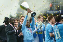 Alhaji Kamara joined in Randers celebration on Thursday after their Sydbank Cup 4-0 victory SonderjyskEs.