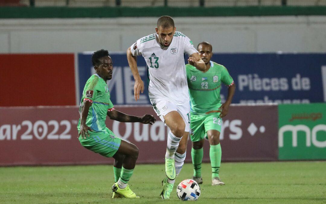 Islam Slimani in action for Algeria